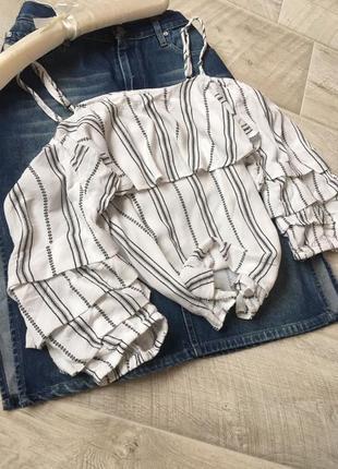 Блуза топ в полоску с рукавом фонарик на тонких бретелях