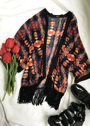 Накидка с бахромой кимоно яркая летняя пляжная с геометрией синяя оранжевая бохо