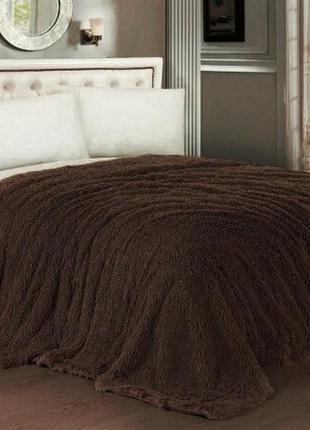 Плед травка мишка шоколад коричневый качественный большой 220 * 240 евро покрывало одеяло