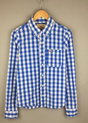 Клетчатая хлопковая рубашка hollister бело синяя холистер