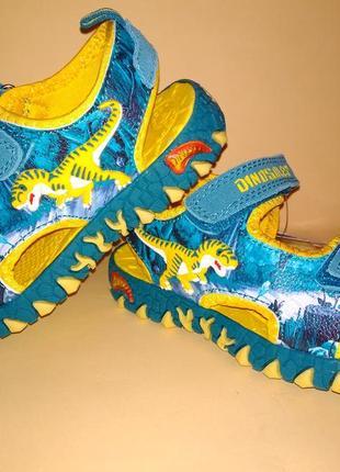 Сандалии босоножки dinosoles динозавры бирюза-жёлтые1 фото