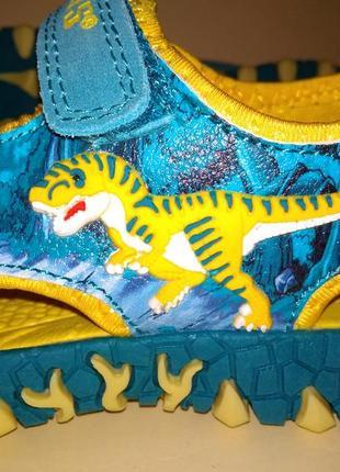 Сандалии босоножки dinosoles динозавры бирюза-жёлтые5 фото