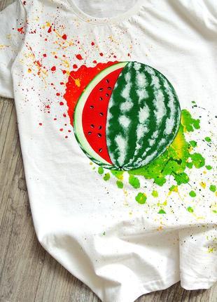 Handmade 🎨 біла футболочка (кавунчик)🍉 всі розміра .