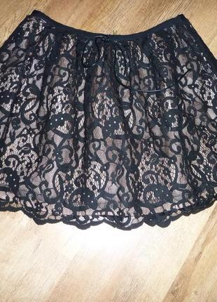 Нарядная гипюровая юбка top shop, р 12