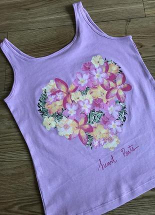 Классная майка/футболка сердце цветы 128 см