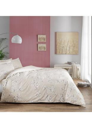 Постель еврокомплект постельное белье tac сатин flora tas серый евро