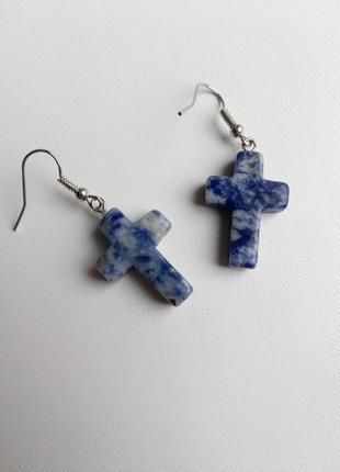 Серьги кресты, сережки крестики, сережки натуральный камень, сережки хрестики!