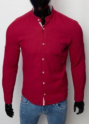 Рубашка мужская льняная figo 17038 с регулировкой рукава бордо