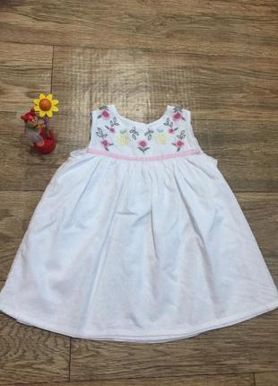 Качественное хлопковое платье  с вышивкой ,на 3-4 г. , от george!на лето-идеальное!