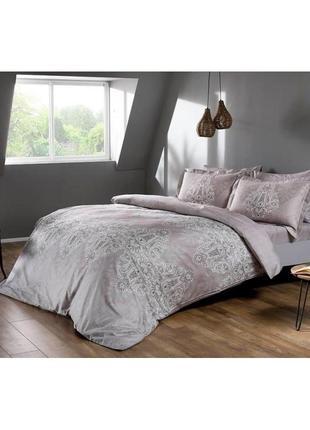 Постельное белье tac сатин digital - caledon gri серый еврокомплект постель