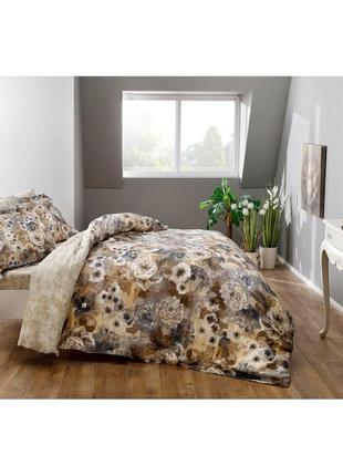 Постельное белье tac сатин digital - avalon постель цветы кофе еврокомплект