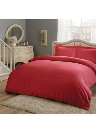 Постельное белье tac basic сатин постель красный еврокомплект