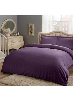 Постельное белье tac basic сатин фиолетовый еврокомплект