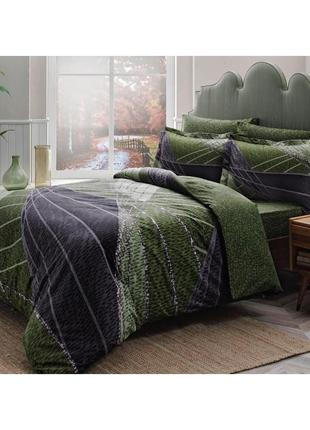 Постельное белье tac сатин delux borneo постель зеленый еврокомплект сатин делюкс
