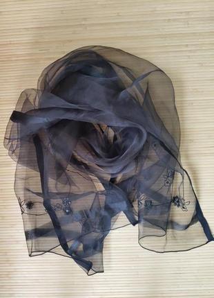 Чёрный палантин накидка с вышивкой бисером