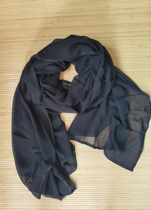 Широкий чёрный  палантин креп расшитый бисером