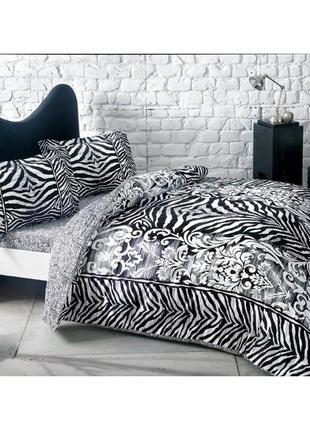Постельное белье tac сатин - jovi еврокомплект зебра