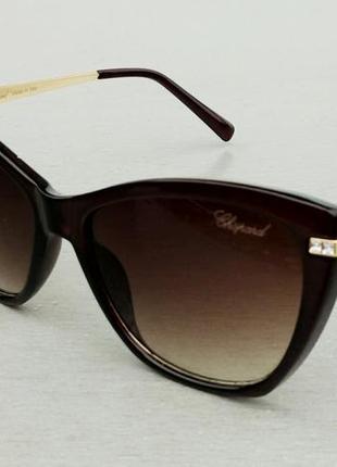 Chopard очки женские солнцезащитные коричневые инкрустированые камнями