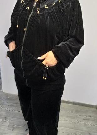 Черный велюровый домашний костюм