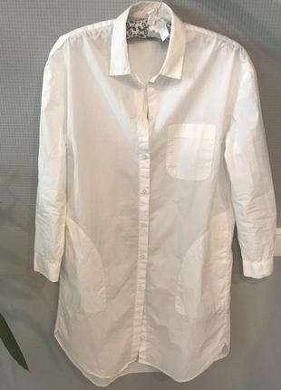 Белая рубашка-платье с карманами