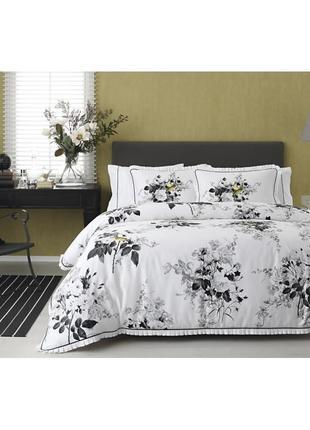 Постельное белье tac сатин digital - lorraine постель черно белая еврокомплект