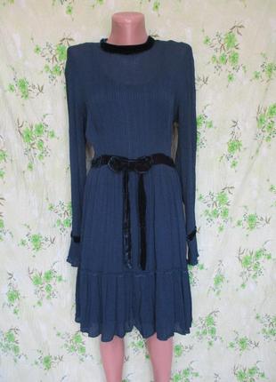 Платье с длинным рукавом с бархатными вставками/гафрированое от ghost 44-46рр