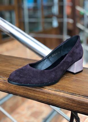 Бордовые туфли на небольшом каблуке с натурального замша з 37 по 40