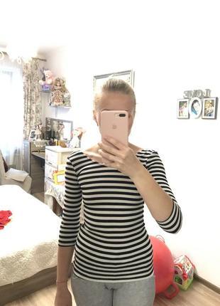 Кофта в полоску черно белая топ рубашка свитер гольф