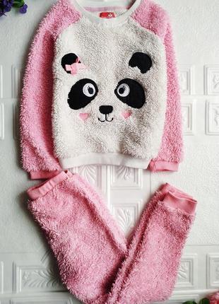 Зимняя махровая плюшевая пижама panda1 фото