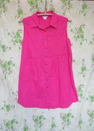 Хлопковая удлиненная рубашка-туника
