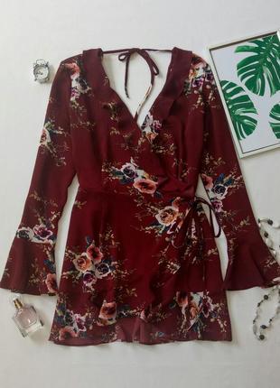 Удлиненная блуза с запахом,  туника,  блуза с цветочным принтом