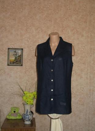 Блуза удлиненная темно синяя