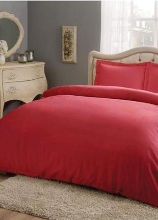 Двуспальный евро комплект tac basic red сатин красная постель