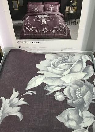 Постельное белье tac сатин delux - castiel фиолетовый еврокомплект