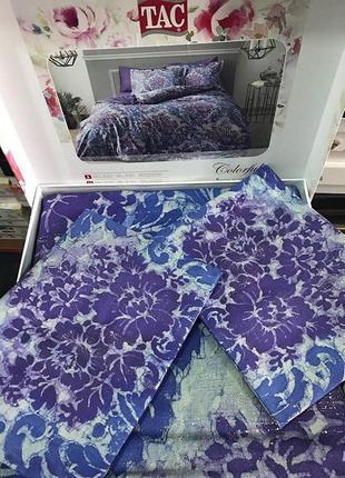 Постельное белье tac сатин digital - solandis фиолетовый еврокомплект
