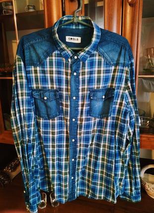Рубашка в клетку с карманами