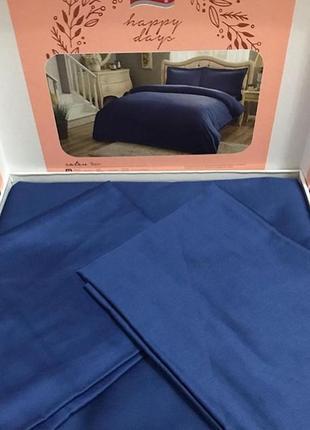 Постельное белье tac basic сатин - saks синий евро однотонная постель