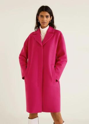 Пальто шерсть италия- цвет- хит фуксия! оверсайз! шикарное качество! 2019