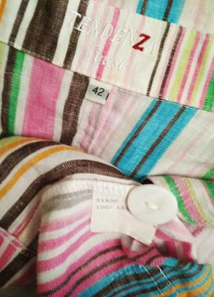 Полосатый пиджак, лён/tendenza finesi/1+1= 50% скидки на 3ю вещь.4 фото