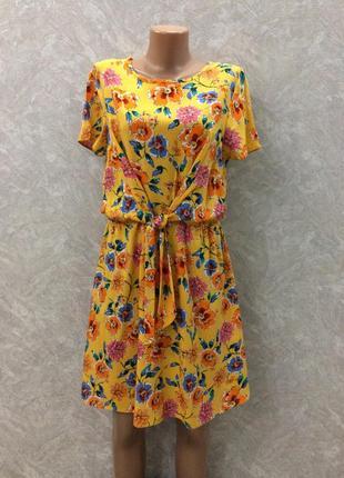 Платье в цветы с завязкой primark