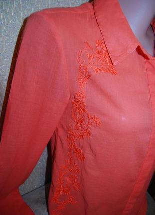 Шикарная тоненькая кораловая блуза-рубашка с вышивкой регулируются рукава пог 46 см promod