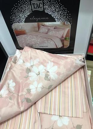 Постельное белье tac сатин delux - shadow розовый семейное