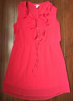 Коралловое шифоновое платье от h&m! p.-44