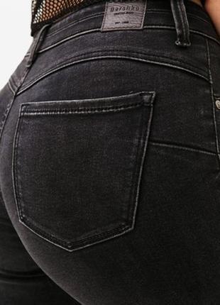 Чёрные пуш-ап джинсы джинси з необрубленими краями