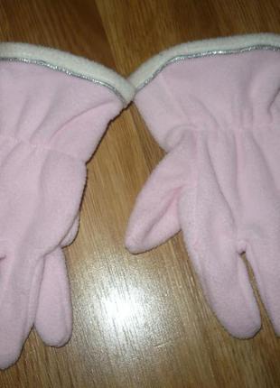 Перчатки флисовые розовые 122-128р.