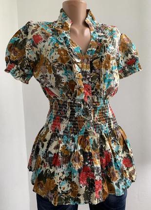 Разноцветная блуза рубашка в цветы с рюшами рукавчик фонарь retro сша