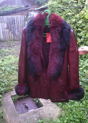Шикарная кожаная куртка зима -осень!