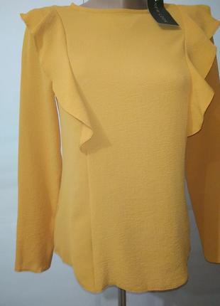 Новая шифоновая желтая блуза с рюшами маленький размер new look uk 6/34/,xxs3 фото