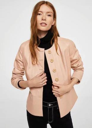 Кожаная куртка от mango испания оригинал! хит модель 2019 пудровая роза качество!
