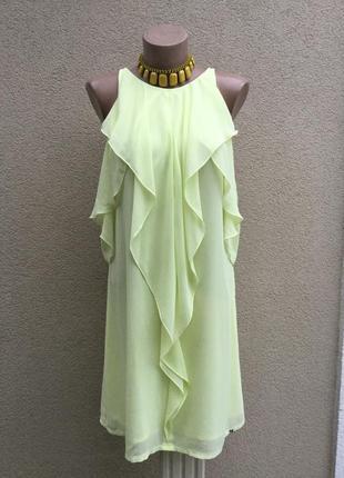 Легкое,желтое платье,сарафан с открытыми плечами,рюши,воланы,guess,оригинал